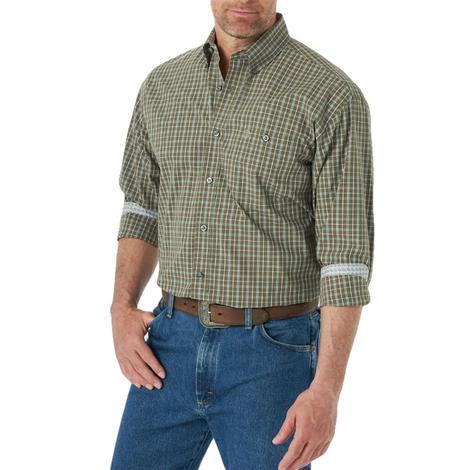 Wrangler Brown Neutral Checked Long Sleeve Buttondown Men's Shirt