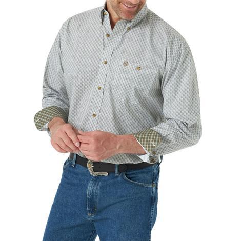 Wrangler Tan Checked Long Sleeve Buttondown Men's Shirt