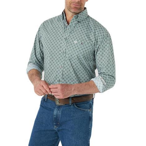 Wrangler Olive and Neutral Print Long Sleeve Buttondown Men's Shirt