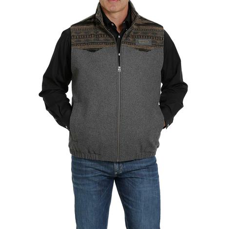 Cinch Charcoal Wool Conceal Carry Men's Vest - Extended Sizes