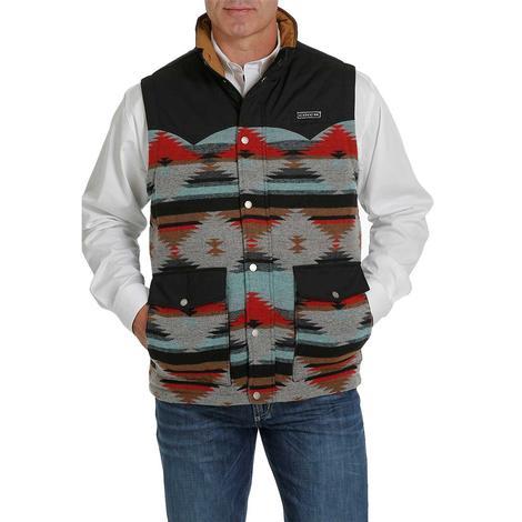 Cinch Grey Black Aztec Print Quilted Men's Vest