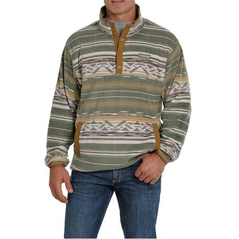 Cinch Olive Tan Printed Fleece Men's Pullover - Extended Sizes