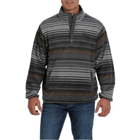 Cinch Charcoal Blue Striped Quarter Zip Men's Fleece Pullover