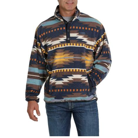 Cinch Navy Multi Aztec Printed Men's Fleece Pullover