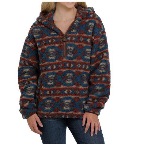 Cinch Multi Print Sherpa Half Zip Women's Hoodie