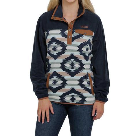 Cinch Navy Aztec Print Fleece Women's Pullover