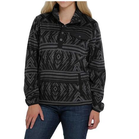 Cinch Black Tonal Aztec Print Women's Fleece Pullover