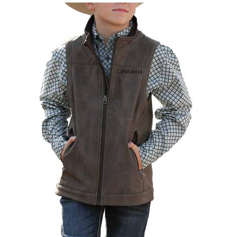Cinch Brown Printed Boy's Bonded Vest