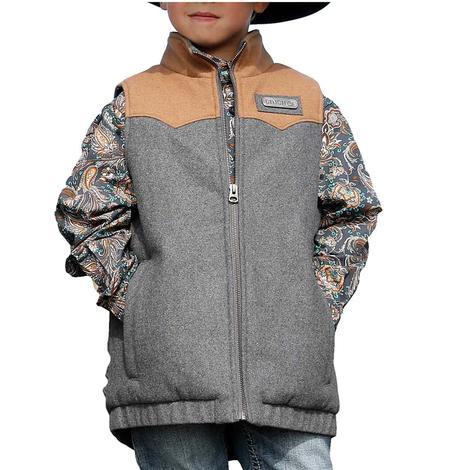 Cinch Brown and Grey Printed Boy's Bonded Vest
