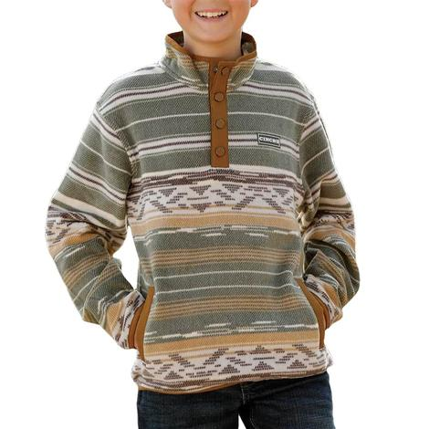 Cinch Olive Print Boy's Fleece Pullover