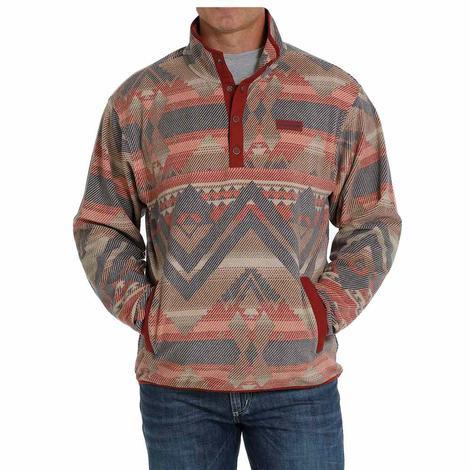 Cinch Burgundy Aztec Print Men's Fleece Pullover