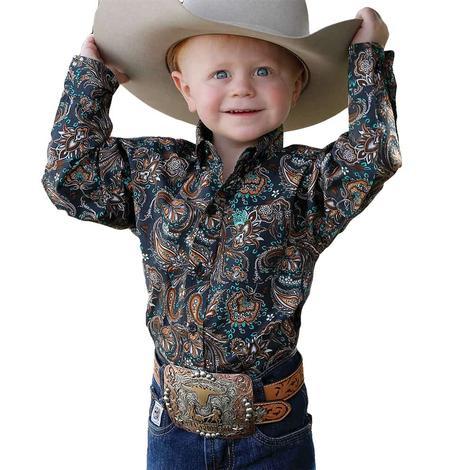 Cinch Charcoal Paisley Print Long Sleeve Buttondown Toddler Shirt