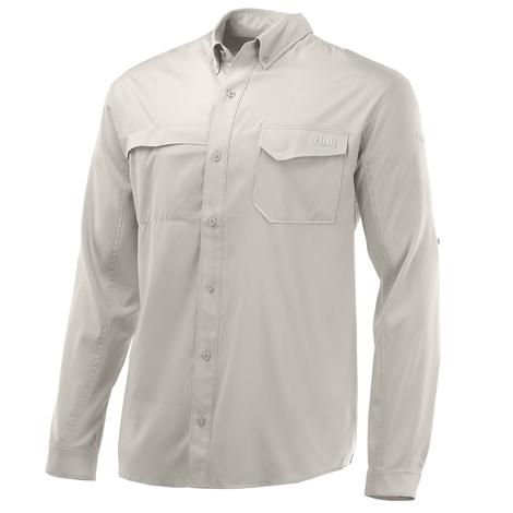 HUK Tide Point Solid Bone Long Sleeve Men's Shirt