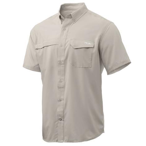 HUK Tide Point Solid Bone Short Sleeve Men's Shirt