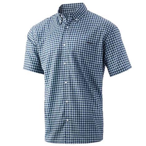 HUK Gingham Teaser Sargasso Sea Short Sleeve Men's Shirt