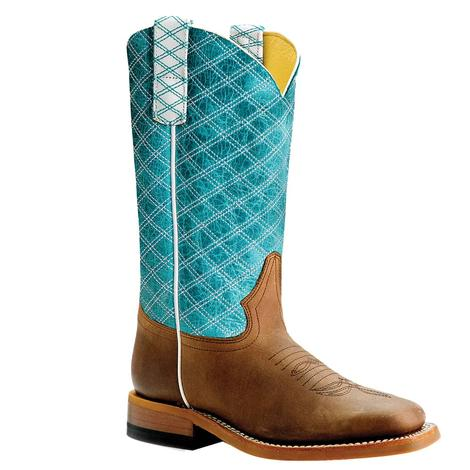 Macie Bean Turquoise Checkered Top Kid Boots