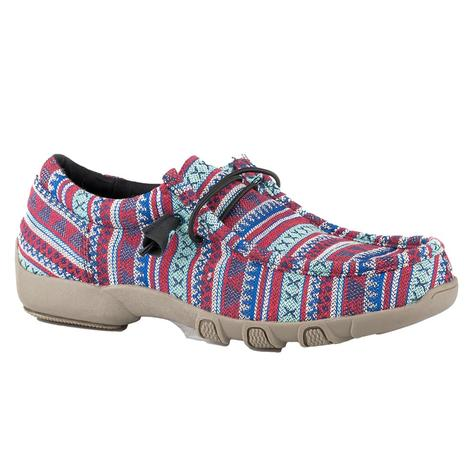 Roper Chillin Aztec Blue Red Canvas Chukka Women's Shoes