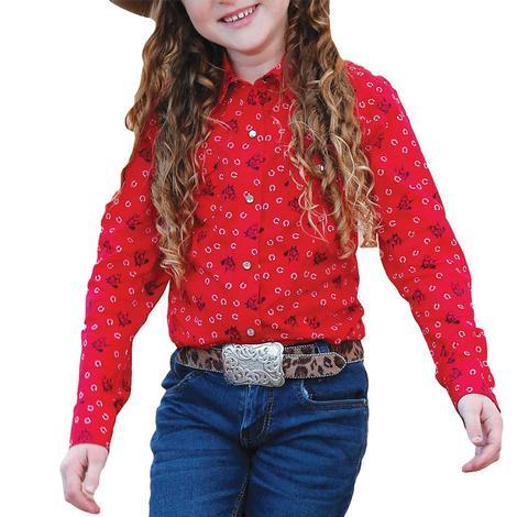 Cruel Girl Red Print Long Sleeve Snap Girl's Shirt