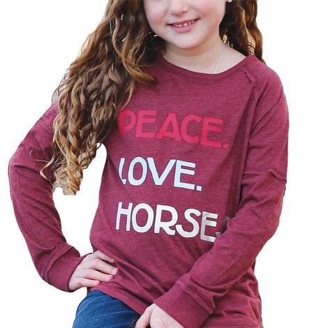 Cruel Girl Burgundy Peace Love Horses Long Sleeve Girl's Tee