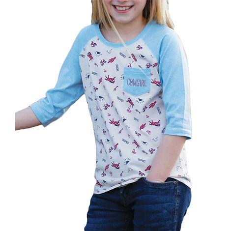 Cruel Girl Heather Cream Blue Cowgirl Print Girl's Long Sleeve Tee