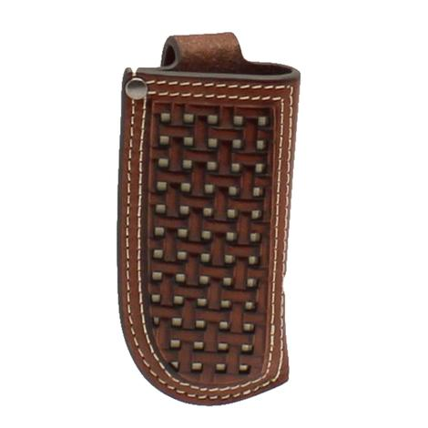 Ariat Brown and White Checked Knife Sheath