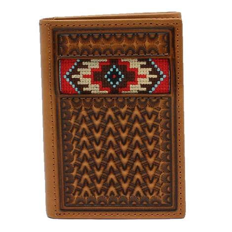 Ariat Tooled and Beaded Trifold Wallet
