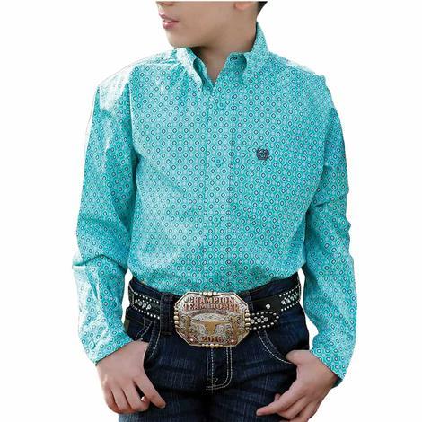 Cinch Turquoise Print Long Sleeve Buttondown Boy's Shirt
