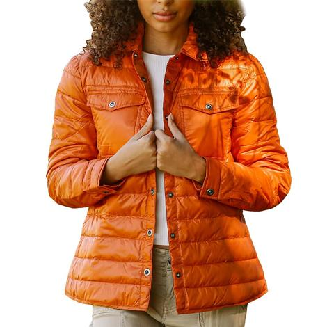 Anorak Quilted Shirt Women's Jacket in Burnt Orange or Military Olive