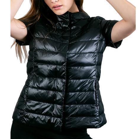 Anorak Short Sleeve Women's Puffer Jacket in Black