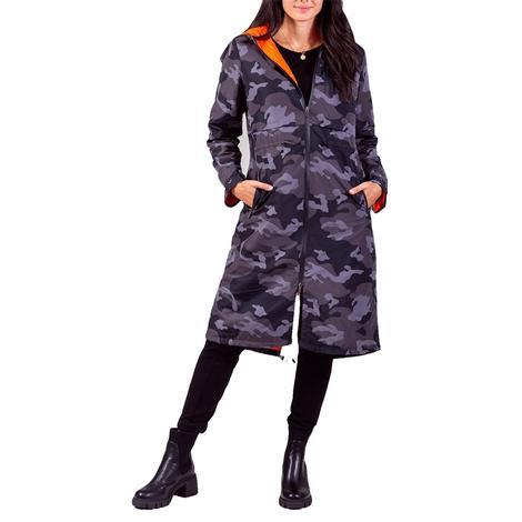 Anorak Toggle Black Camo Women's Trench Jacket
