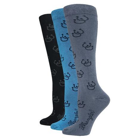 Wrangler Horse Shoe Print Knee High Women's Boots Socks - 3 Pair Pack