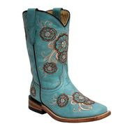 Corral Kids' Turquoise Multicolor Flower Boots