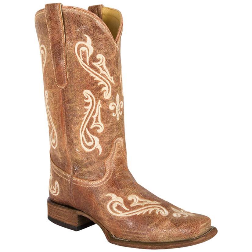 Corral Cortez Tan Fleur De Lis Cowgirl Boots
