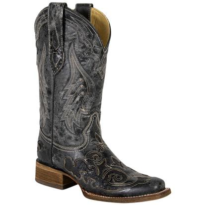 Corral Winged Black Python Overlay Cowgirl Boots
