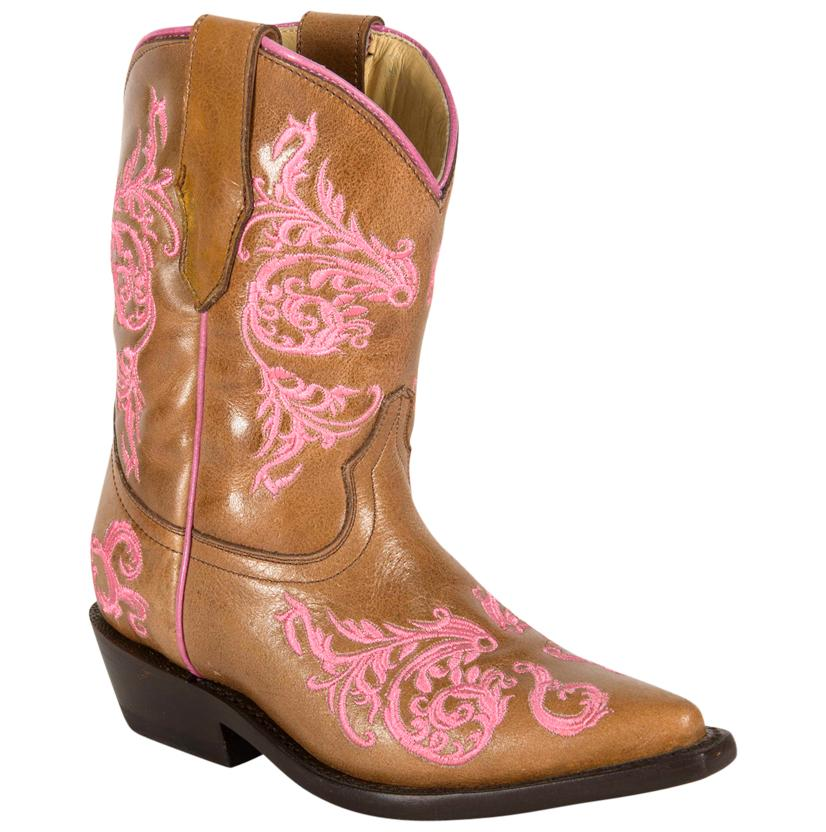Corral Brown/Pink Embroidered Kids Boot