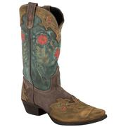 Laredo Miss Kate Brown Teal Leather Posey Arrow Ladies Boot