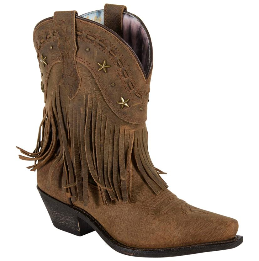 Dingo Hang Low Brown Fringed Leather Snip Toe Cowgirl Boot