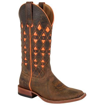 Horse Power Mens Neon Orange Bison Cowboy Boot