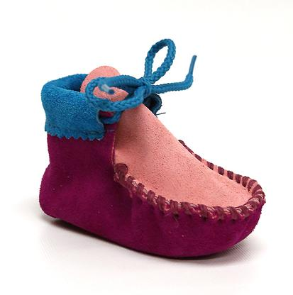 Itasca Infant Toddler Wapsi Moccasin Giggle Party Pink Turquoise