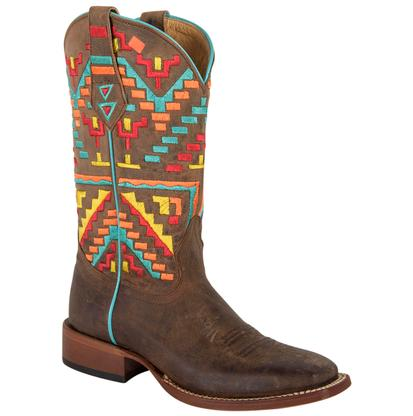 Johnny Ringo Womens Multi-Color Aztec Cowgirl Boots