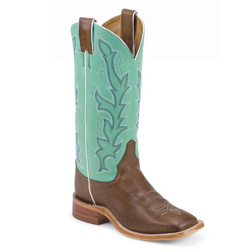 Justin Bent Rail Womens Light Blue Tops Boots