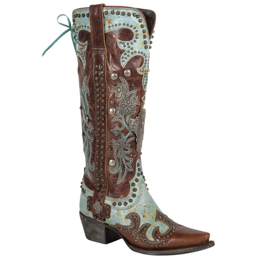 Double D Ranch Ammunition Turquoise And Brown Cowgirl Boot