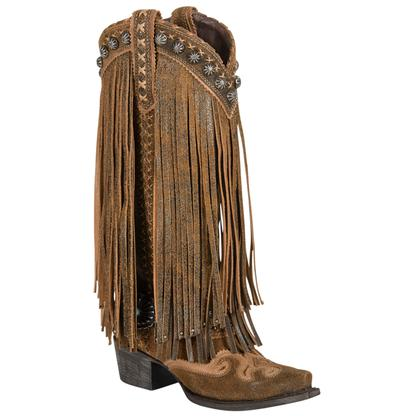Double D Prescot Fringed Brown Ladies Boot
