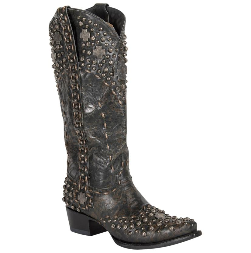 Double D Silver Trader Womens Black Boot