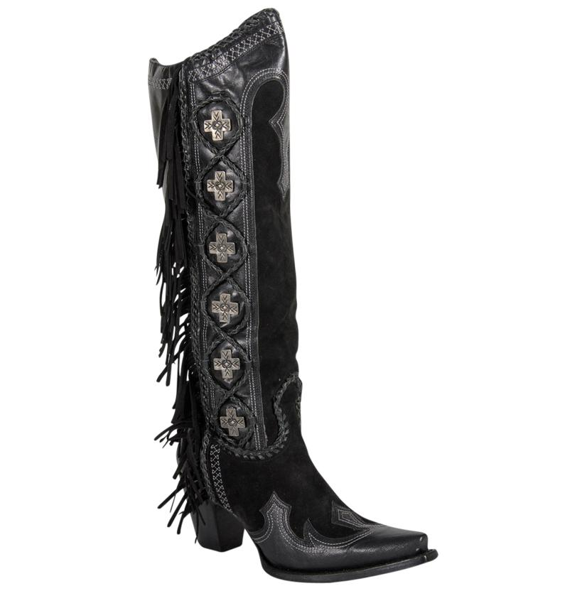 Double D Black Domingo Fringed Cross Ladies Boots