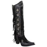 Double D Black Domingo Fringed Cross Ladies Boots