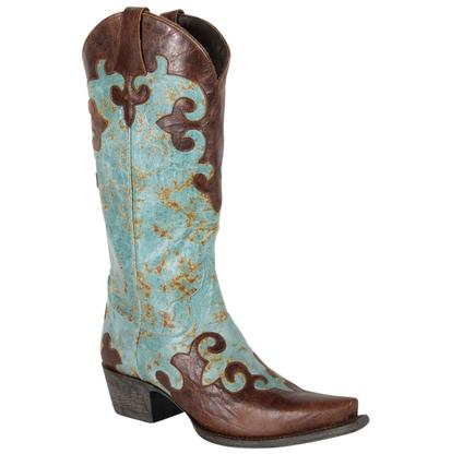 Lane Dawson Turquoise and Brown Distressed Cowgirl Boot