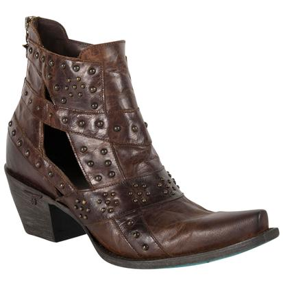 Lane Women's Stud & Straps Distressed Brown Boots