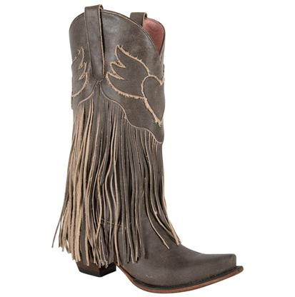 Junk Gypsy The Dreamer Fringed Crackle Brown Ladies Boot