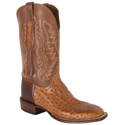 Lucchese Men's Tan Full Quill Ostrich Cowboy Boots